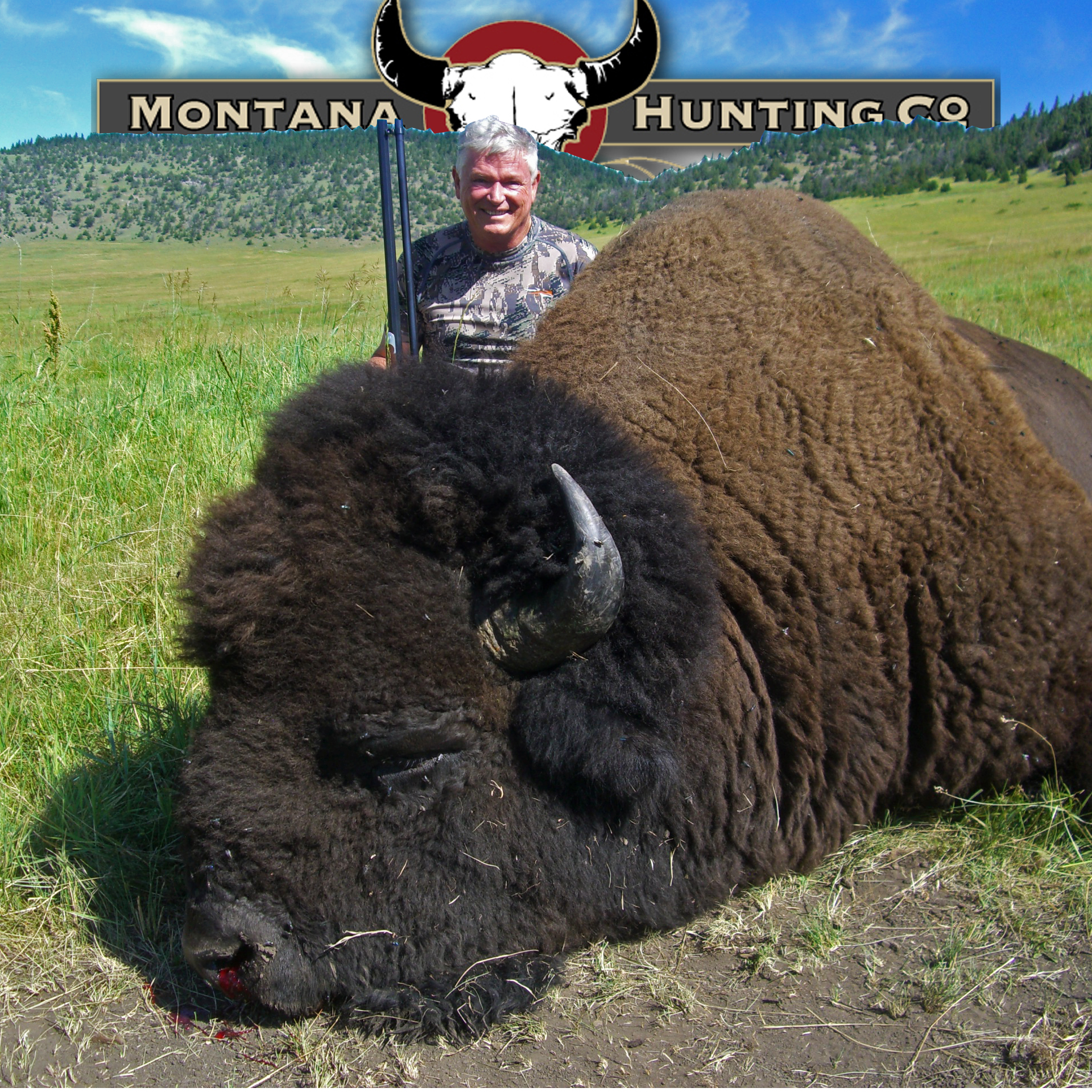Hunter and his Trophy Bison
